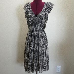 BCBG Zebra Stripe Silk Ruffled Flutter Dress